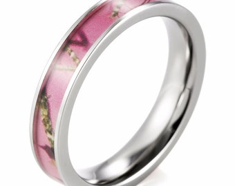 Pink Mossy Oak Break Up Titanium Ring