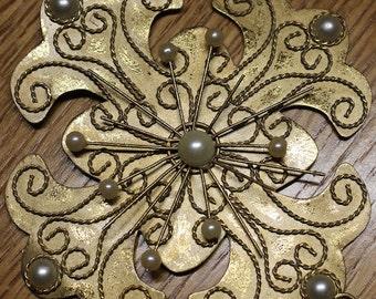 Snowflake Ornament - Large Snowflake - Metal Snowflake - Gold Embellishment - Mixed Media Supplies Assemblage Supplies - Christmas Ornament