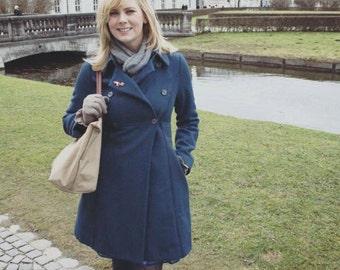 1930's Style Woolen Noa Noa Coat in Deep Blue