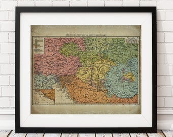 Austria Hungary Map Print, Vintage Map Art, Antique Map, Industrial Wall Decor, Austrian Wall Art, Austrian Map, History Gift, Cartography