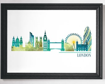 London Print, London Poster, London Art, Prints, Wall Art, Minimalist City