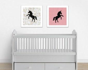 Unicorn Print Set, Unicorn Art, Baby Girl Art, Baby Girl Decor, Unicorn Decor, Unicorn Wall Art, Unicorn Theme, Little Girl Art Print, Pink