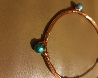Copper/Rose Gold Wire Wrapped Bracelet with Turquoise Round Beads