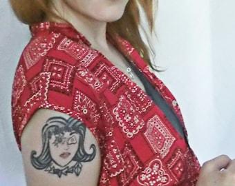 Women's Vintage 50s/60s Red Bandana Handkerchief Vest - Button-Up, S/M