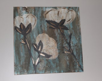 Iridescent & Rustic Cotton Boll Paintings