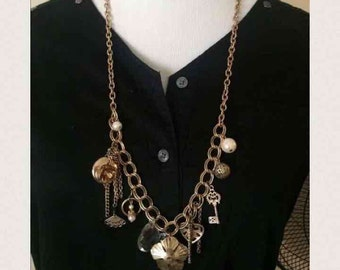Vintage gold chain charm necklace