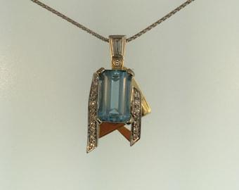 Custom Designed, Handcrafted 18-karat and Platinum Aquamarine and Diamond Pendant