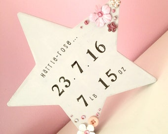 Gift for new baby / star / Baby girl / Christening gift / Personalised gifts for baby / hand stamped