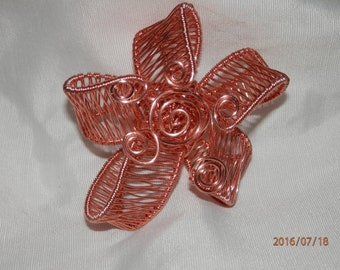 Copper Wire Wrapped Flower Pendant