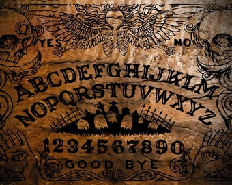 Ouija Board with Planchette -Classic Burnt Angel Design Board by OccultBoards.com