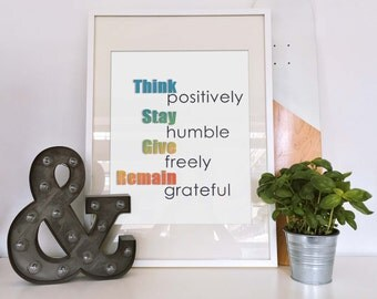 Inspirational Quote - Think Positively - PRINTABLE art motivation by Everyday Vision printables