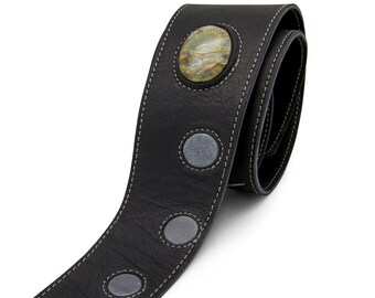 Personalized guitar strap, Black leather guitar strap with stone - the LUV CHILD
