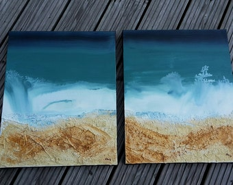 """Diptych """"Longing"""", shipping, acrylic painting, XL-canvases, handmade and hand-signed, an abstract image, acrylic painting"""