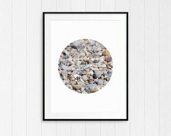 Stone Beach Photography, Coastal Beach Decor, Nautical Wall Art Print, Geometric, Instant Digital Download, Modern Minimalist, Cottage Art