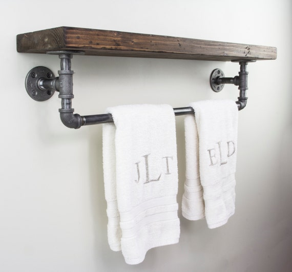 floating shelves with towel rack industrial floating shelves. Black Bedroom Furniture Sets. Home Design Ideas