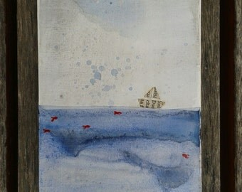Boat in newspaper, red fish and blue sea. MDF 10 x 20 cm