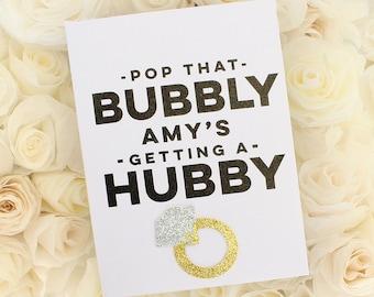 POP BUBBLY Personalized Custom Funny Engagement card, Bridal Card, Bachelorette Card, Wedding Card, Bridal Shower