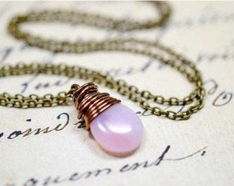 Petal Pink Necklace, Antiqued Pink Opal Drop Necklace, Pink Blush Necklace, Pink Jewelry, Simple Wire Wrap Necklace, Pink Wrapped Necklace