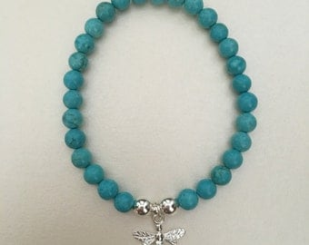 Sterling silver bee charm bracelet with turquoise gemstone beads