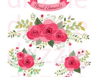 flower stickers, flower clipart, wedding decorations, flower wreath, rose clipart, planner clipart, digital stickers, digital clipart.