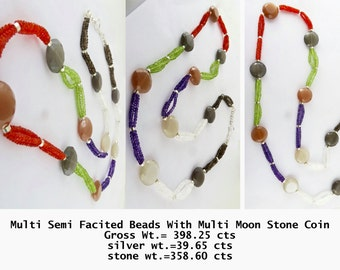 Multi  Semi Precious Facitate Beads +Multi Moon stone Coins