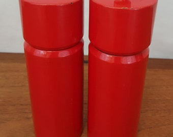 Vintage 70s Modern TOMATO RED Salt and Pepper S&P Shakers Grinder Made in JAPAN