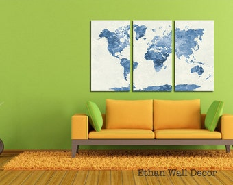 Push Pin World Map, CANVAS World Ma,p Watercolor World Map with Pins, Pin It Map, Pin it Adventures, Gift Idea, Anniversary gift for husband