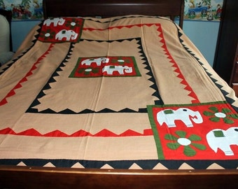 SALE Vintage Boho Bedspread, Brown, Hand Applique, Pure Cotton, Sofa Cover Light Blanket Pair of ElephantsTapestry Embroidered Quilt Top