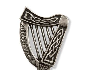"Silver Claddagh Irish Harp Decoration 3"" [CC02-S]"
