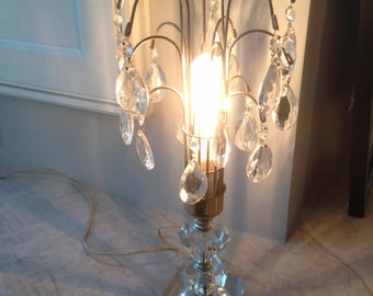 Pair of Antique Crystal Boudoir Lamps