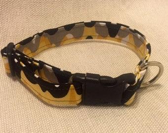 Black and Yellow Wave Dog Collar