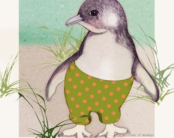 Card - Little Penguin - 14cm x 14cm - blank