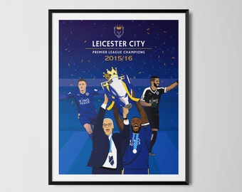 Leicester City Champions 15/16 Trophy Print