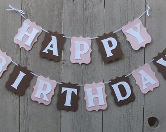 Happy Birthday banner, Birthday sign, Personalized Name banner, Cowgirl theme, Little Cowgirl, Pink Cowgirl, Pink and Brown, Party sign