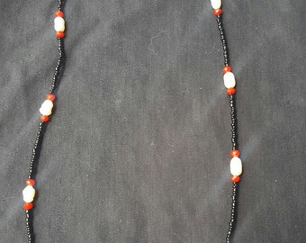 Red, White, Black beaded necklace
