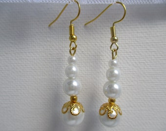 White & gold hypo-allergenic pearl earrings-bridal jewelry-wedding party jewelry-bridal party jewelry-prom gifts-mothers gift, E101