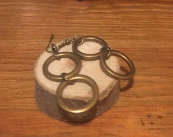 Antiqued brass double earrings