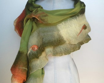 Silk and merino wool scarf, scarf, silk and merino wool Stole, stole nunofeltro technique felt silk, Spring