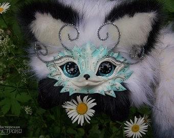 Round fuzzy  OOAK White Fox