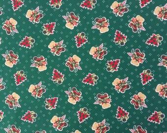Fabric green Christmas bear - Dimension for 1 quantity 25cmX150cm - 100% cotton