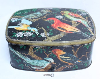 Original box years ' 50 decorating with Birds-Beautiful vintage tea biscuits birds box from 1950