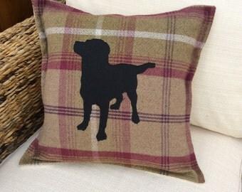 Black Labrador Heather Check Cushion Cover Chocolate and Yellow Labrador available. Please message me colour.