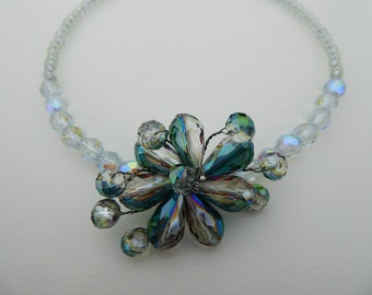 Crystal flower statement necklace with iridescent glass beads