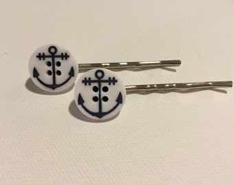 Anchor Button Bobby Pins