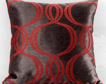 Designer pillow cover, Decorative pillows, Romo fabric, silk pillow, euro sham, red pillow