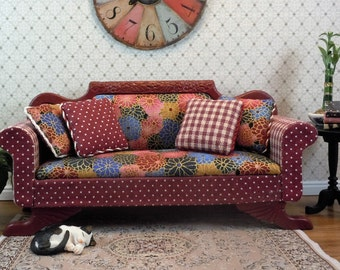 Dollhouse Miniature furniture in twelfth scale or 1:12 scale.  Upholstered sofa/settee/couch.  Item #271.