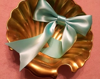 Light Teal Silk Ribbon Hair bow with tails