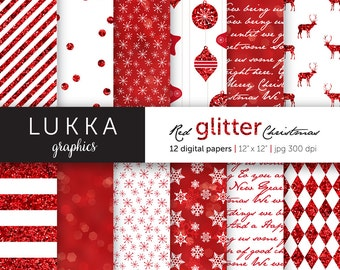 Red Glitter Christmas digital paper pack; christmas pattern; seasonal background; red and white