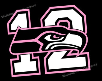Seattle Seahawks 12th Man Vinyl Decal Sticker - Free GO HAWKS! Sticker in Matcing Pink Color