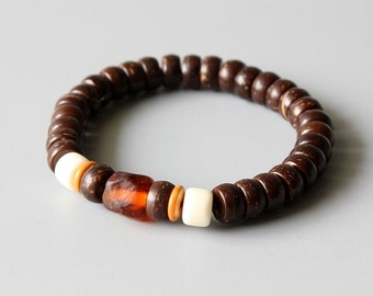 Coconut beads, handmade Glass Bead Bracelet